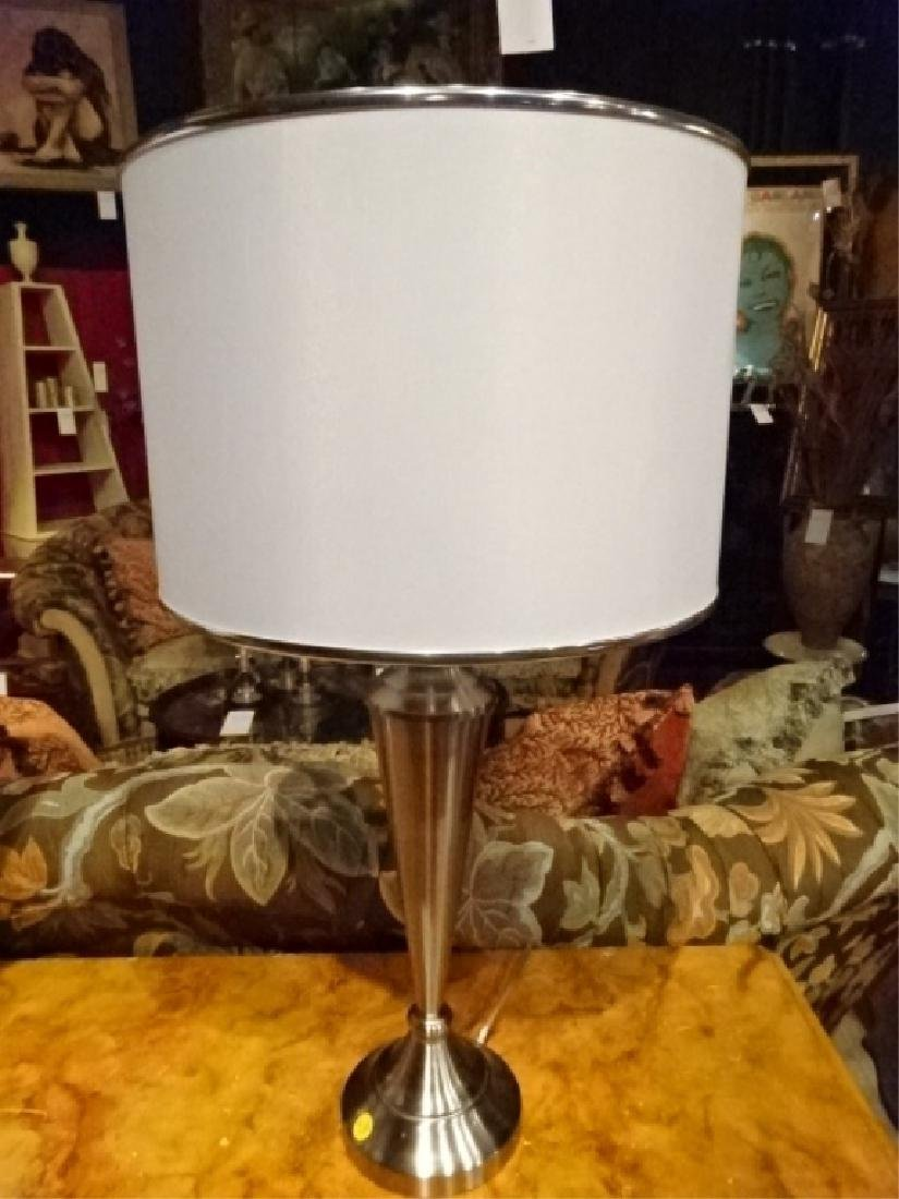 PAIR TABLE LAMPS, NICKEL FINISH, WHITE DRUM SHADES, - 2