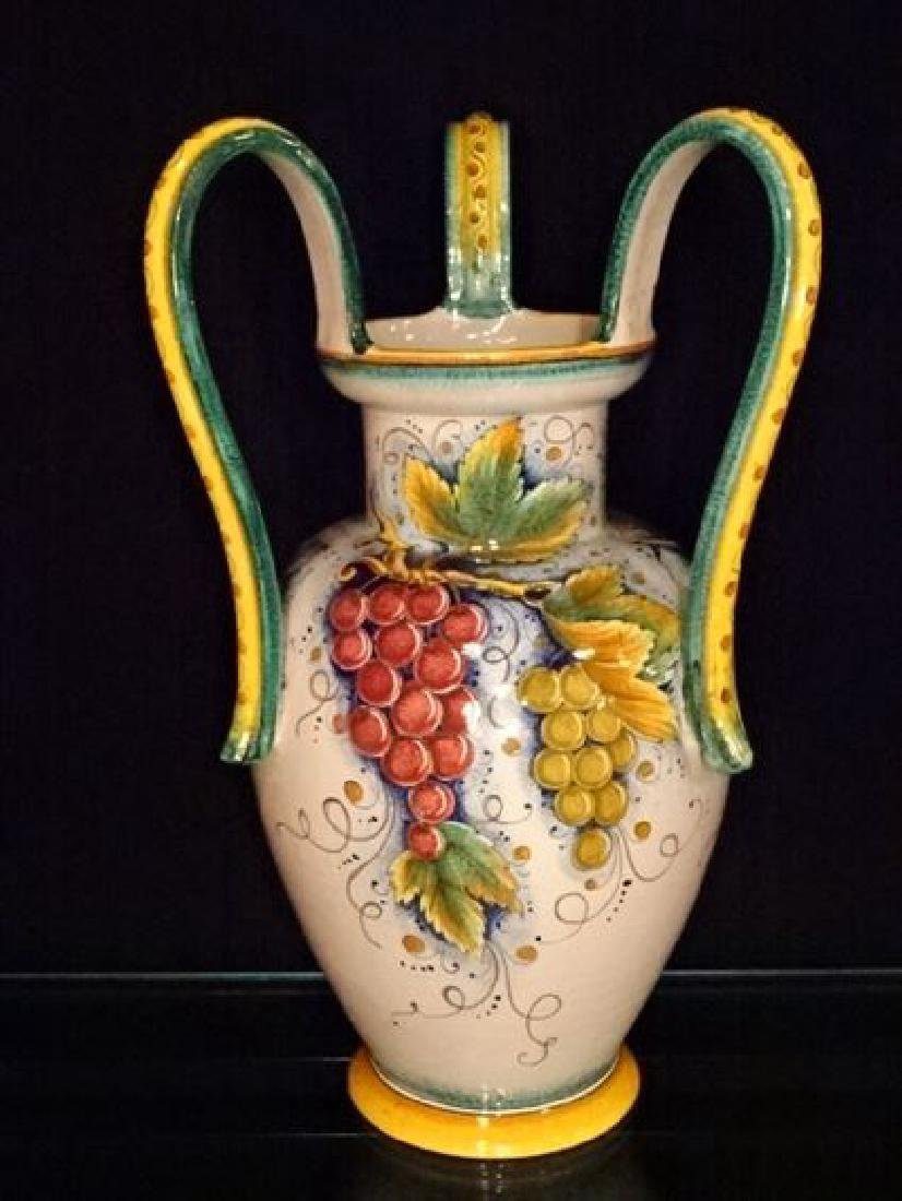 LARGE ITALIAN CERAMIC URN, PAINTED GRAPEVINE DESIGNS, 3