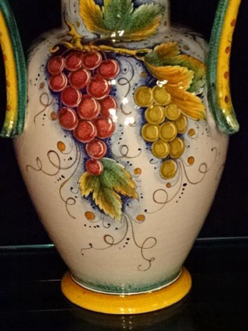 LARGE ITALIAN CERAMIC URN, PAINTED GRAPEVINE DESIGNS, 3 - 4
