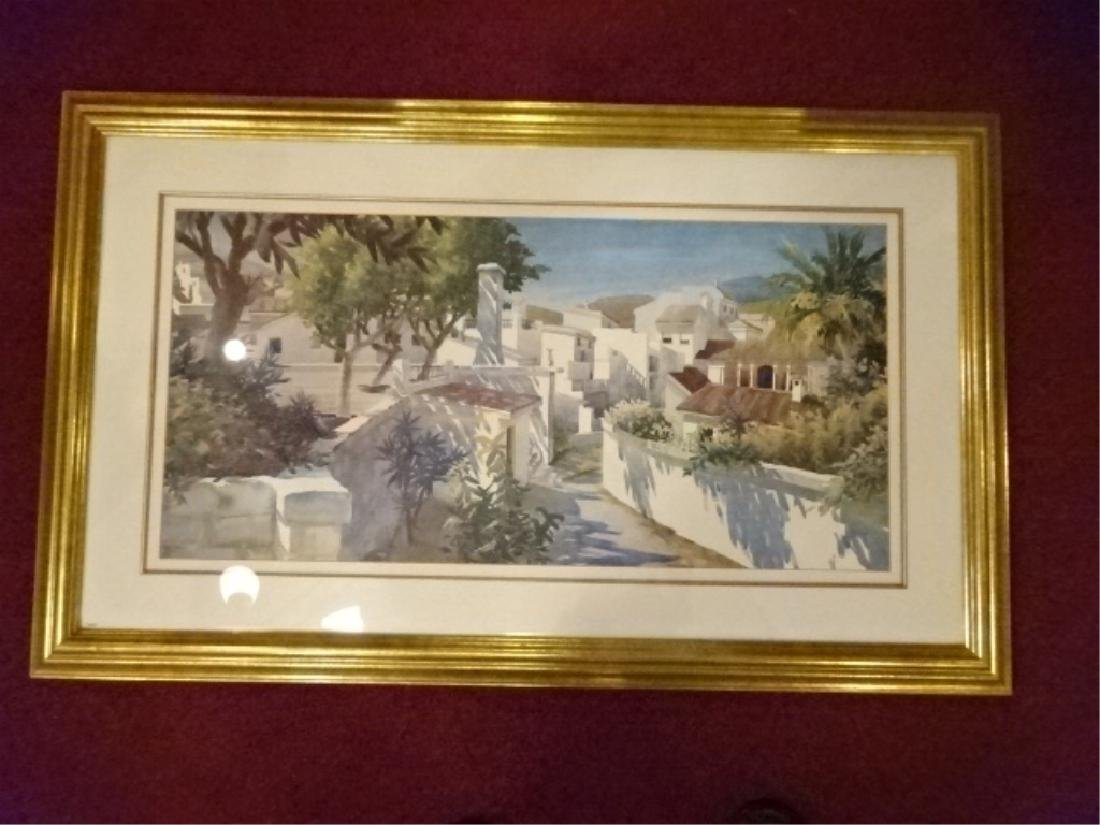 FRAMED PRINT TROPICAL VILLAGE WITH PALMS, MATTED AND