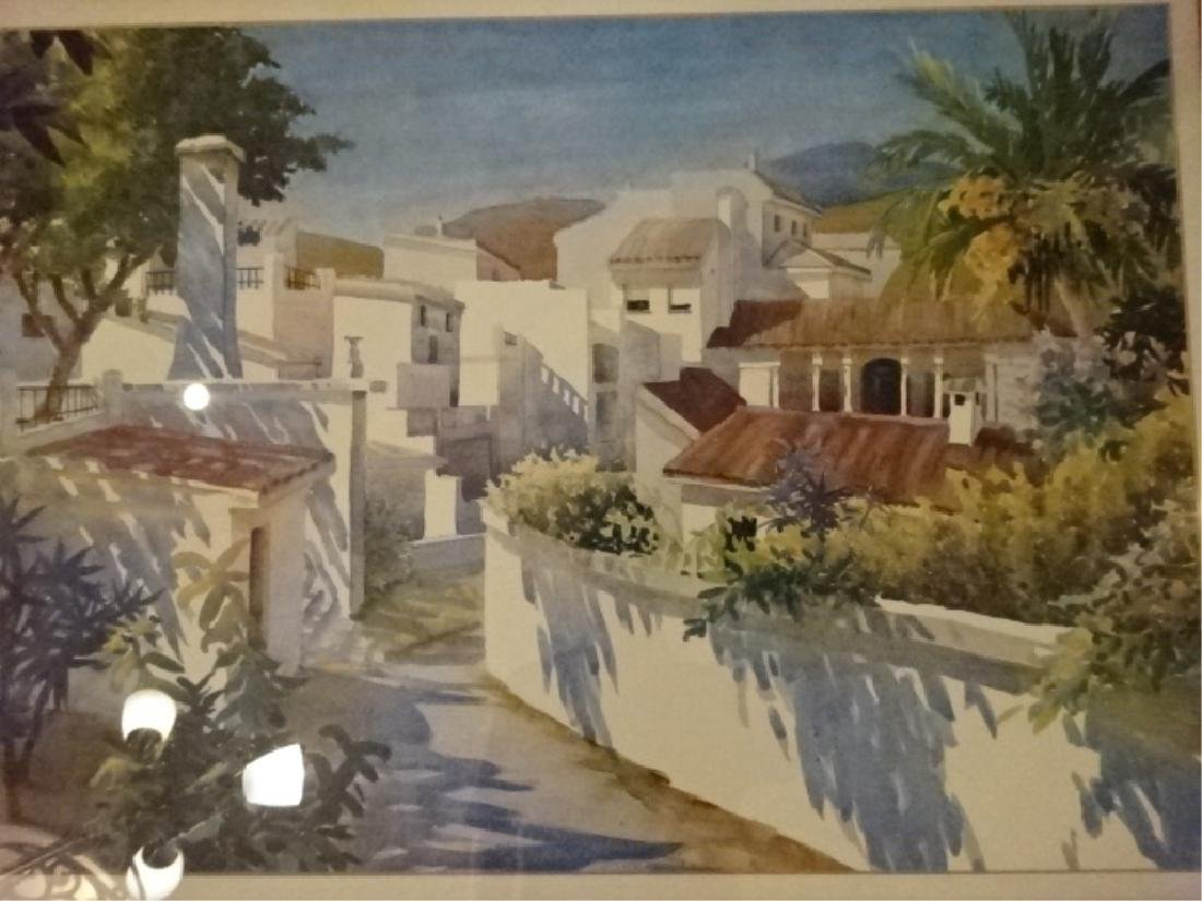 FRAMED PRINT TROPICAL VILLAGE WITH PALMS, MATTED AND - 2
