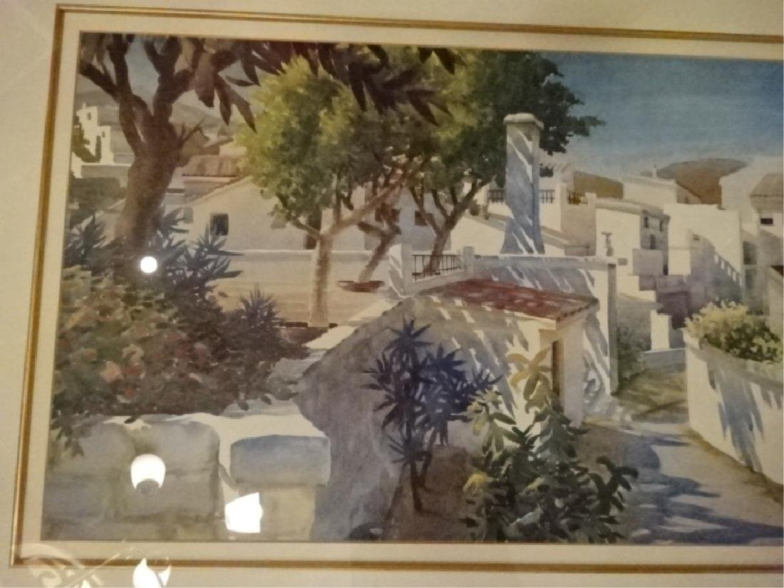 FRAMED PRINT TROPICAL VILLAGE WITH PALMS, MATTED AND - 3