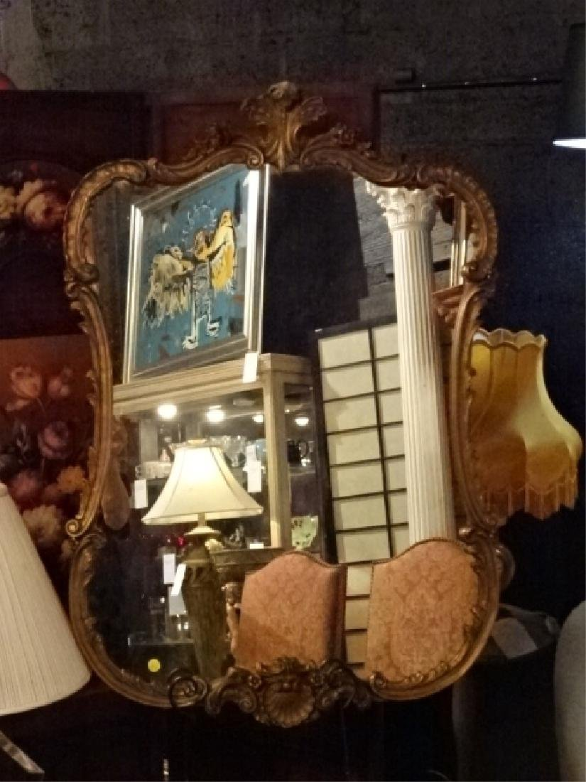 ROCOCO GILT WOOD MIRROR, VERY GOOD CONDITION WITH SOME - 2