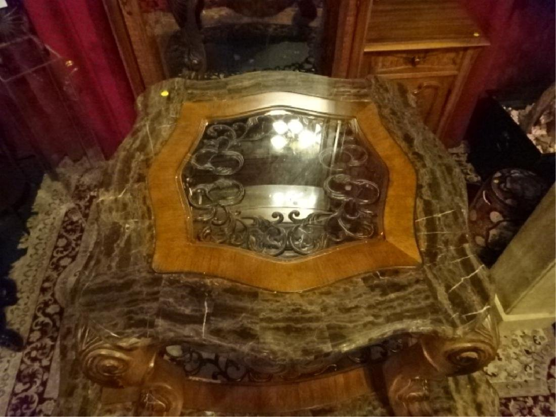 2 PC ORNATE COFFEE & SIDE TABLES, GLASS TOPS, APPROX - 3
