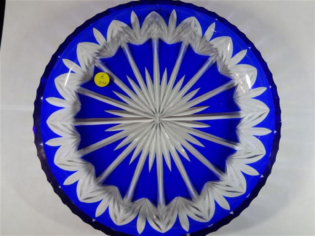 """COBALT CUT TO CLEAR CRYSTAL PLATE, SMALL CHIPS, 11""""W,"""