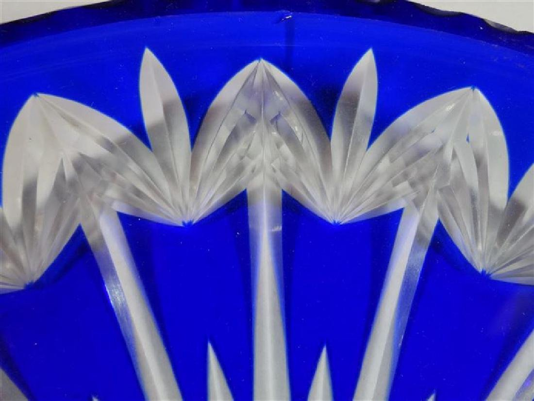 """COBALT CUT TO CLEAR CRYSTAL PLATE, SMALL CHIPS, 11""""W, - 2"""
