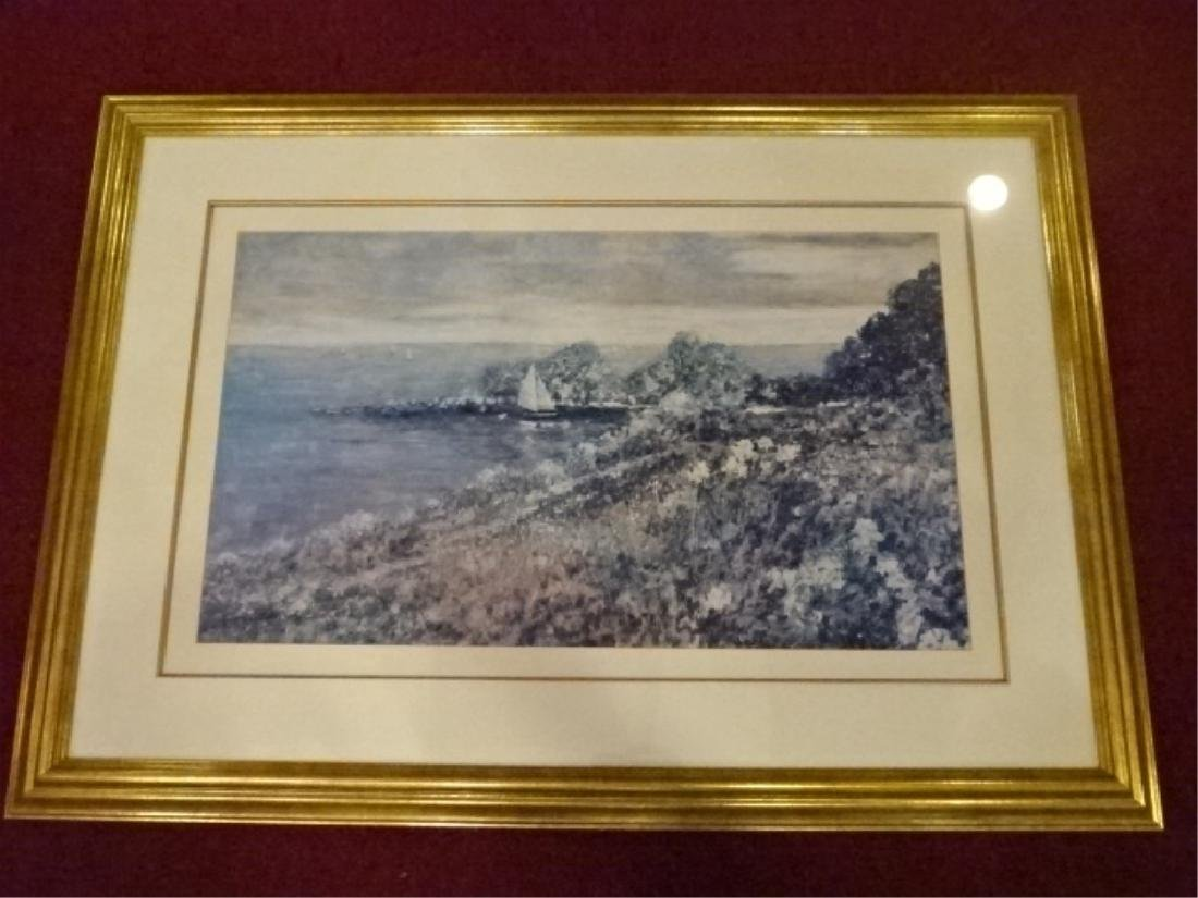 FRAMED PRINT, COASTAL SCENE, SIGNED IN THE PLATE LOWER