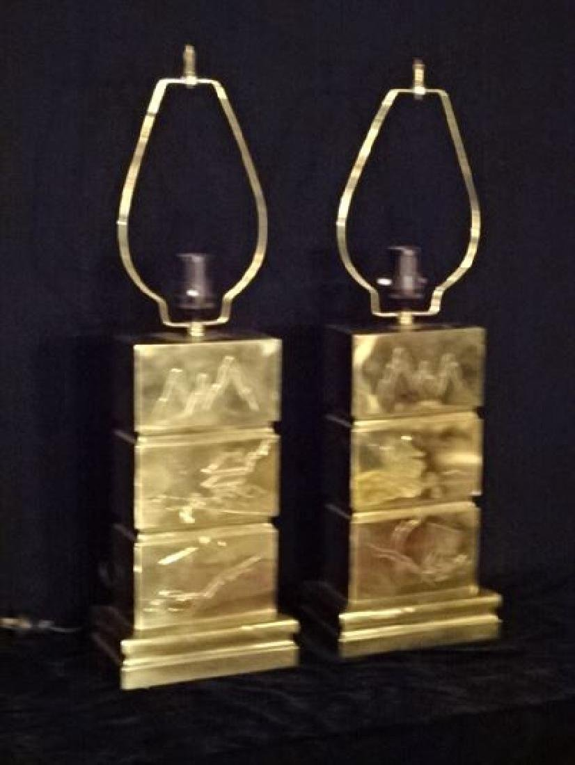 PAIR MID CENTURY ETCHED BRASS LAMPS, ASIAN DESIGNS, - 2