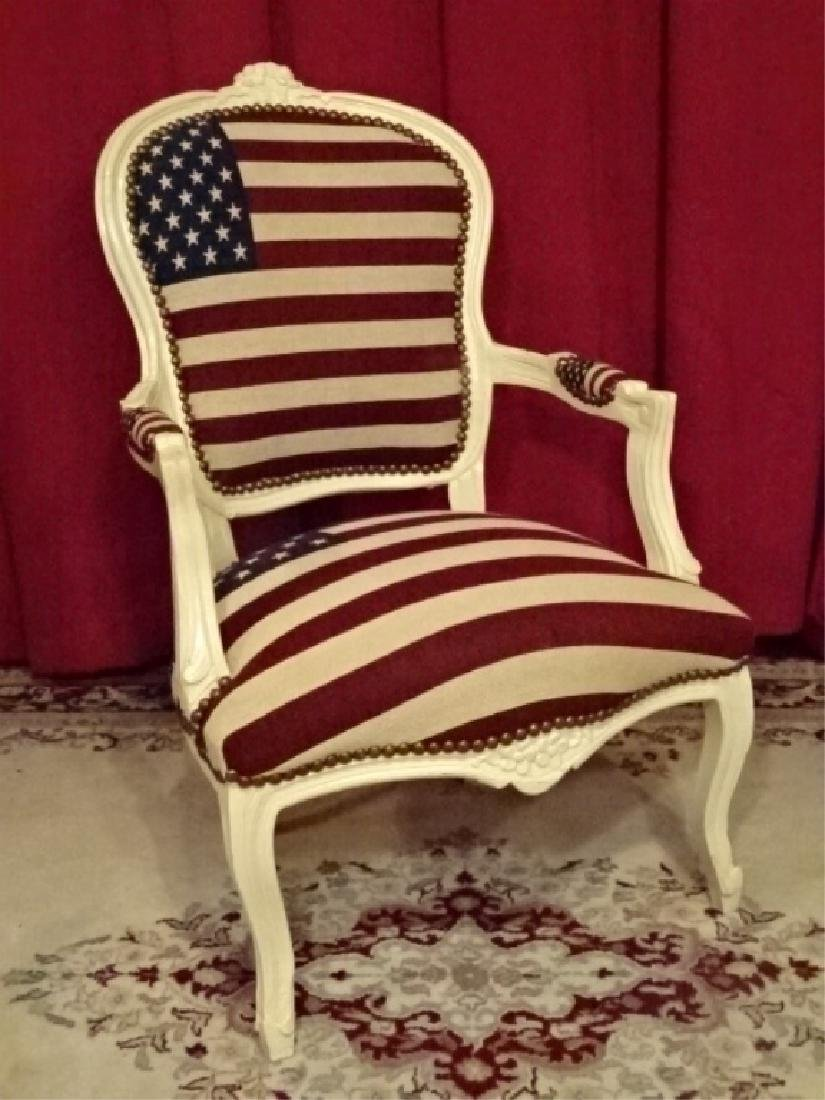 LOUIS XV STYLE FAUTEUIL ARM CHAIR, AMERICAN FLAG
