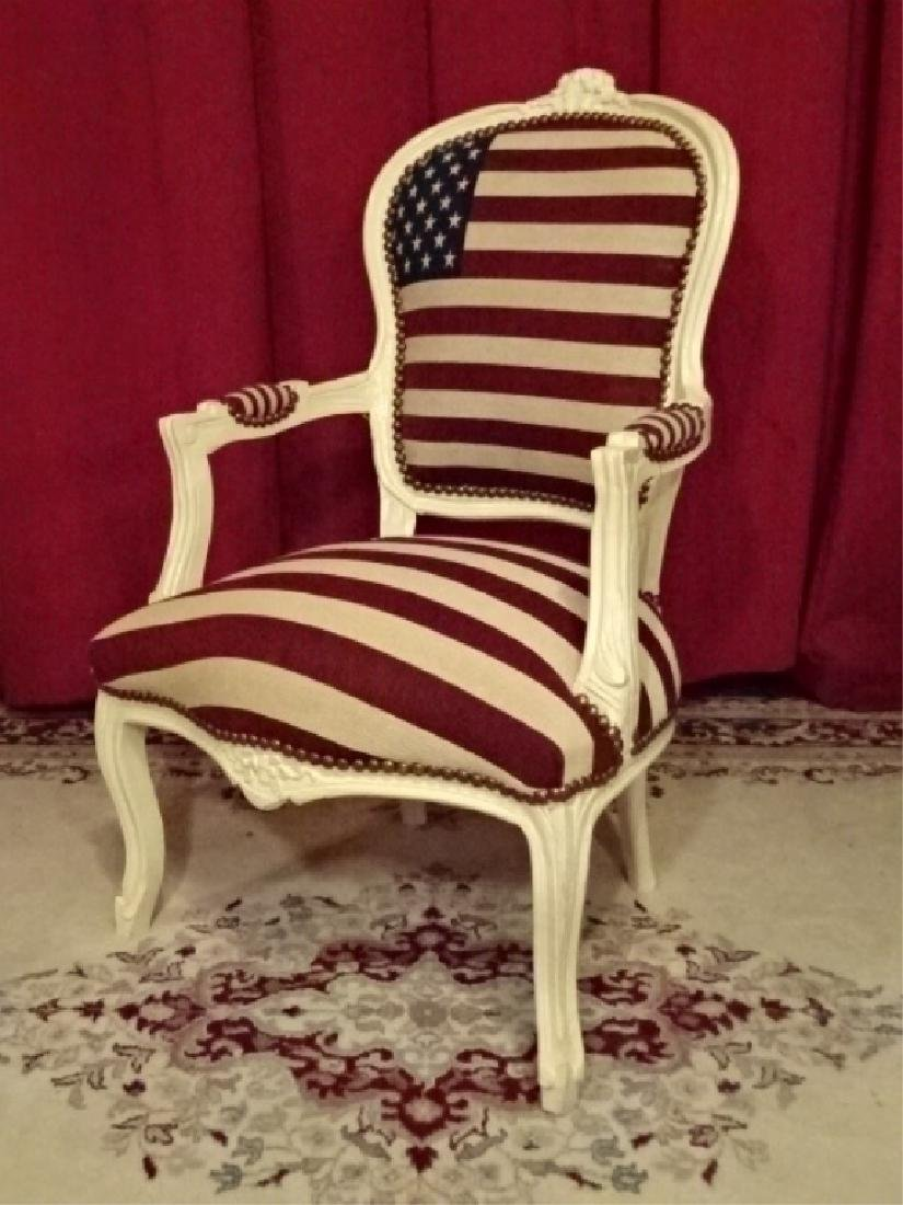 LOUIS XV STYLE FAUTEUIL ARM CHAIR, AMERICAN FLAG - 2