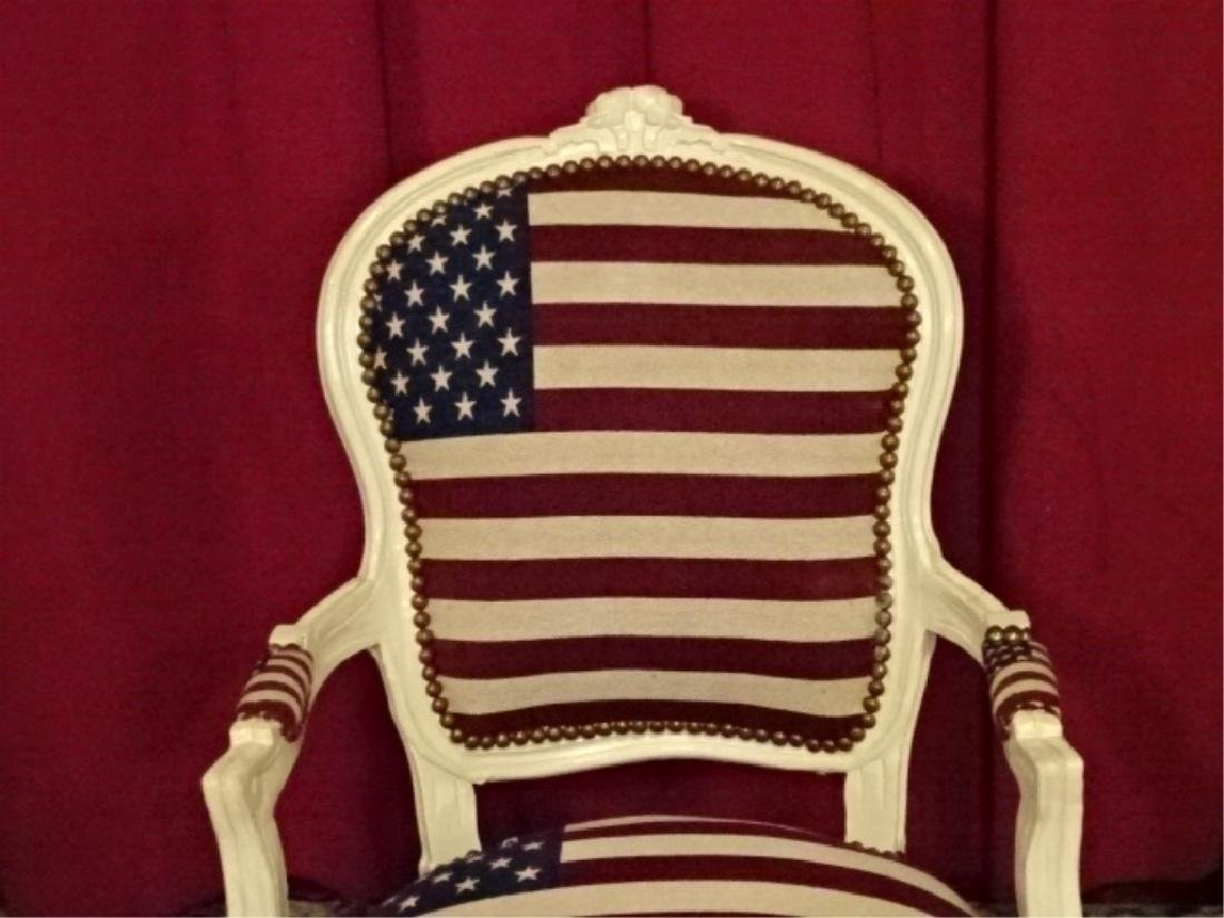 LOUIS XV STYLE FAUTEUIL ARM CHAIR, AMERICAN FLAG - 3