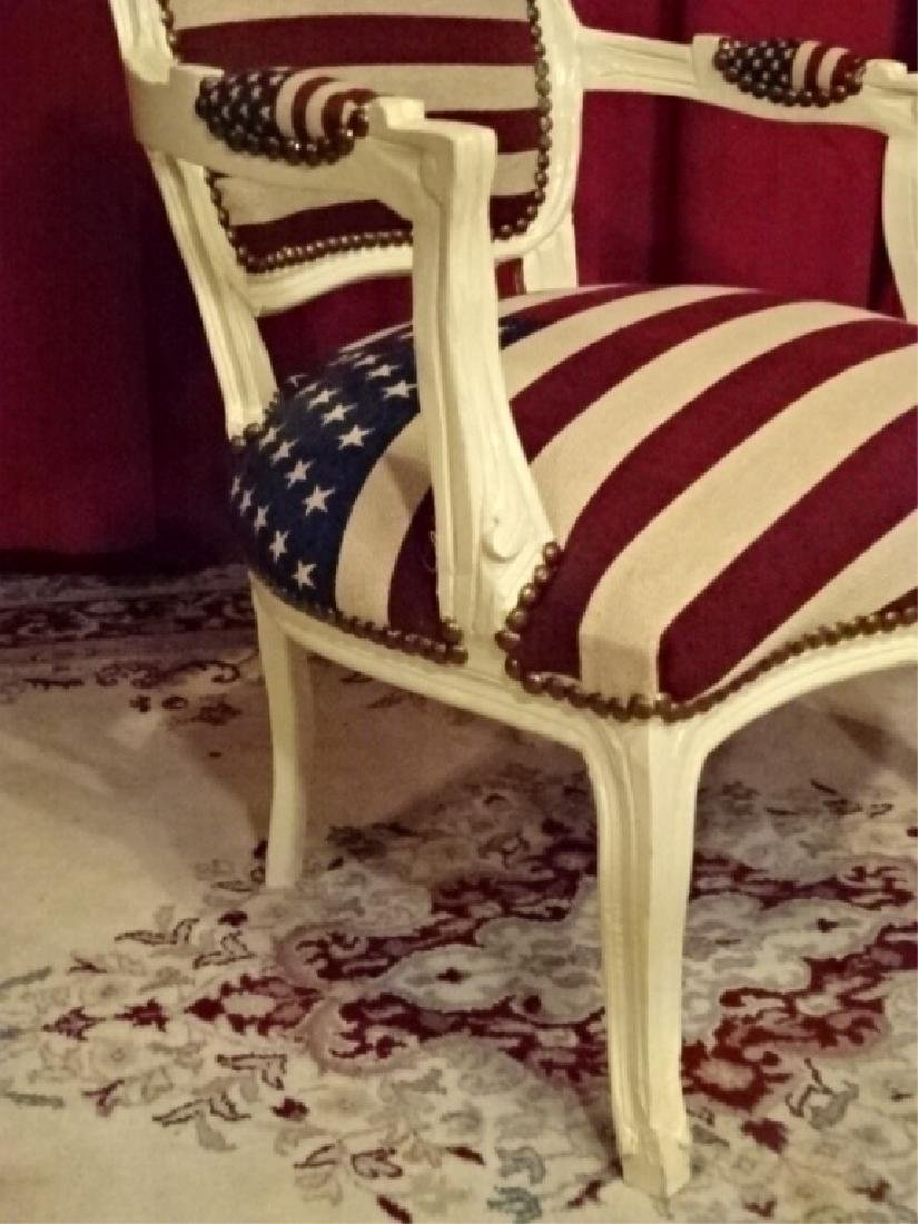 LOUIS XV STYLE FAUTEUIL ARM CHAIR, AMERICAN FLAG - 5
