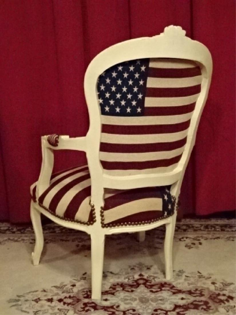 LOUIS XV STYLE FAUTEUIL ARM CHAIR, AMERICAN FLAG - 6