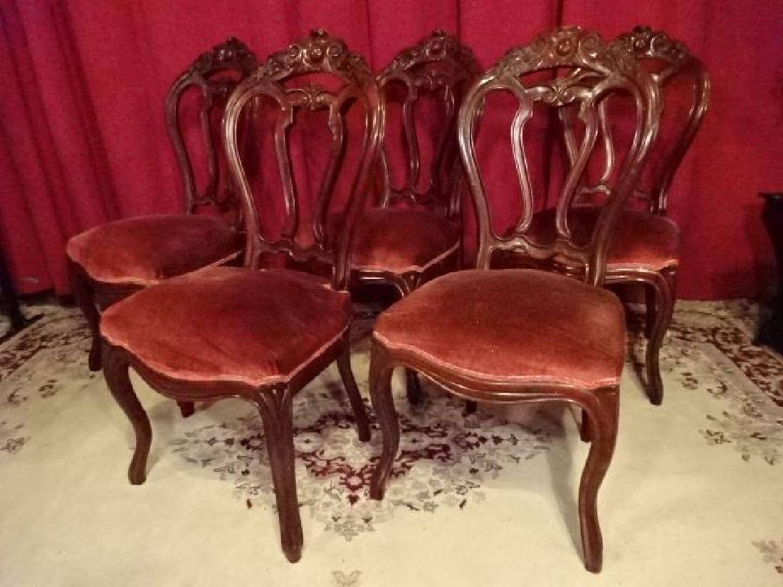 5 ANTIQUE DINING CHAIRS, CARVED WOOD FRAMES, RED VELVET
