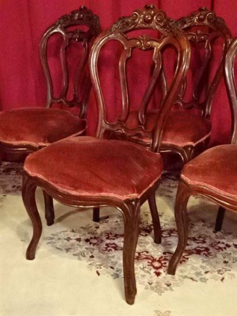5 ANTIQUE DINING CHAIRS, CARVED WOOD FRAMES, RED VELVET - 2