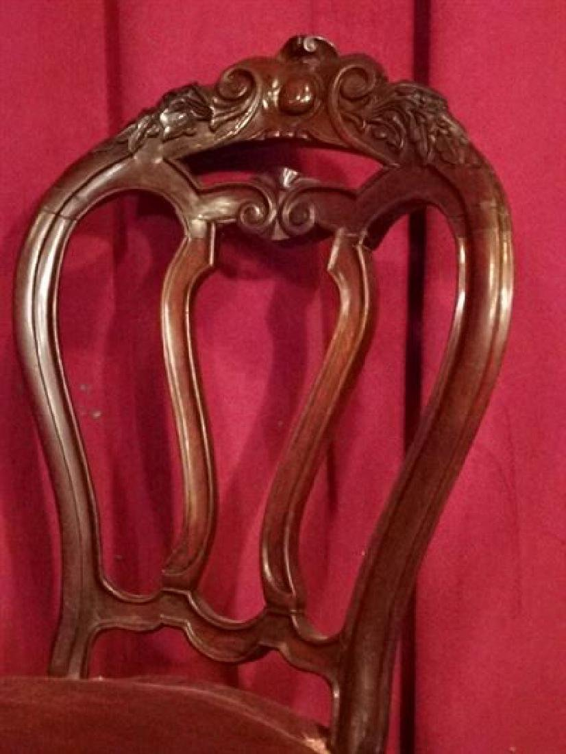 5 ANTIQUE DINING CHAIRS, CARVED WOOD FRAMES, RED VELVET - 5