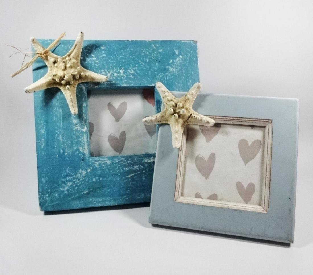2 PC PICTURE FRAMES, ACCENTED WITH STARFISH, HOLD