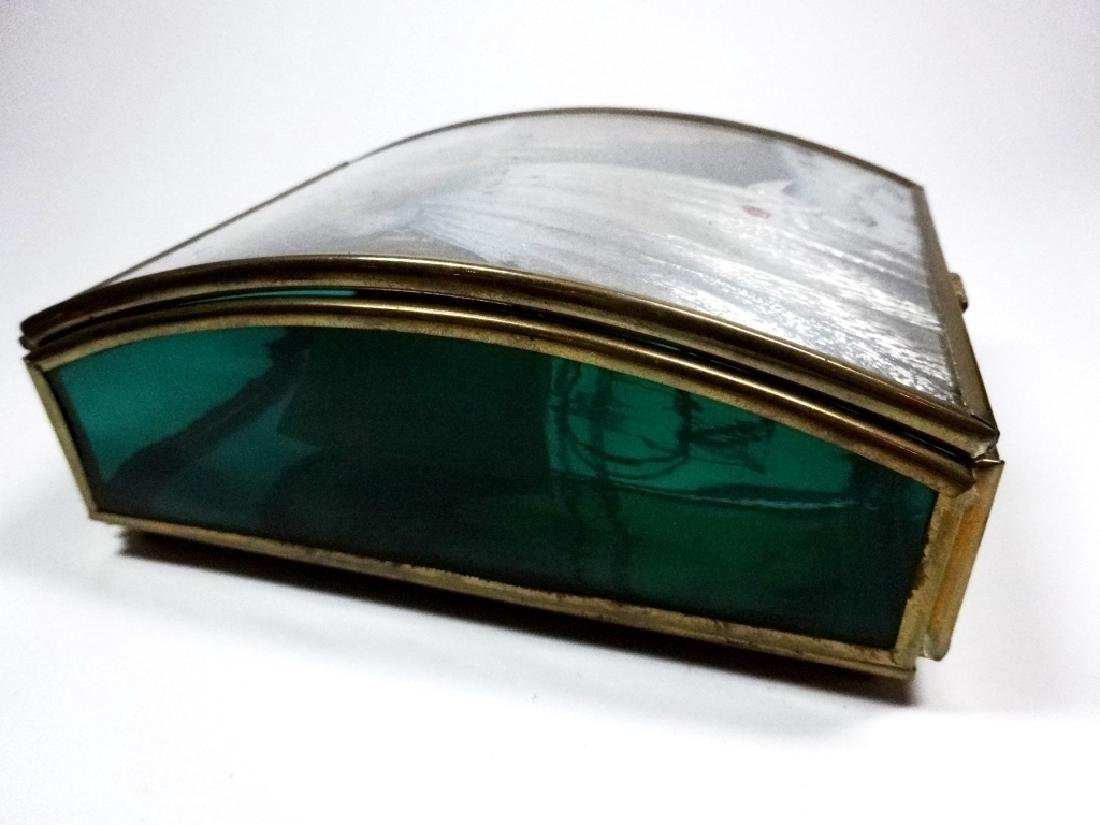 VIA VERMONT GREEN GLASS BOX WITH CURVED LID, FEATURING - 2