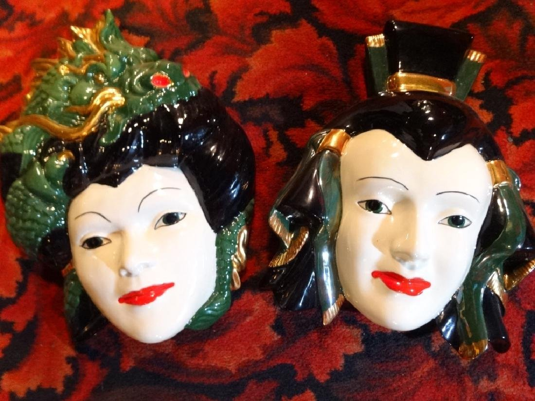 "PAIR ASIAN CERAMIC WALL PLAQUES, APPROX 13"" X 10"""