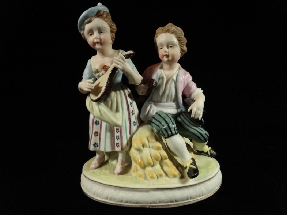 SHAFFORD PORCELAIN FIGURINE, 2 CHILDREN, MARKED, VERY