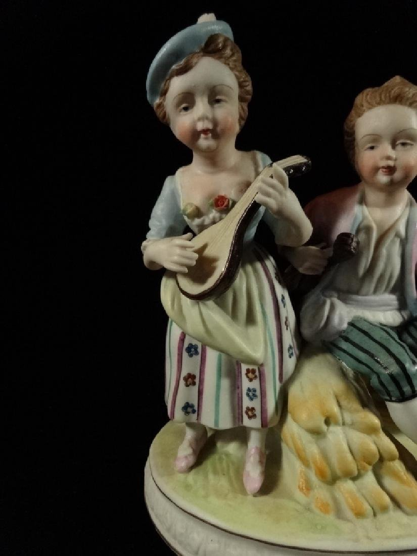 SHAFFORD PORCELAIN FIGURINE, 2 CHILDREN, MARKED, VERY - 2