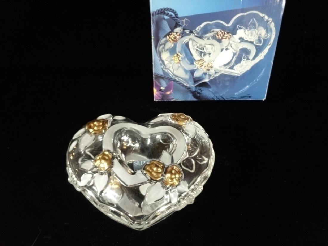 STUDIO NOVA VINTAGE CRYSTAL HEART BOX, CLEAR AND