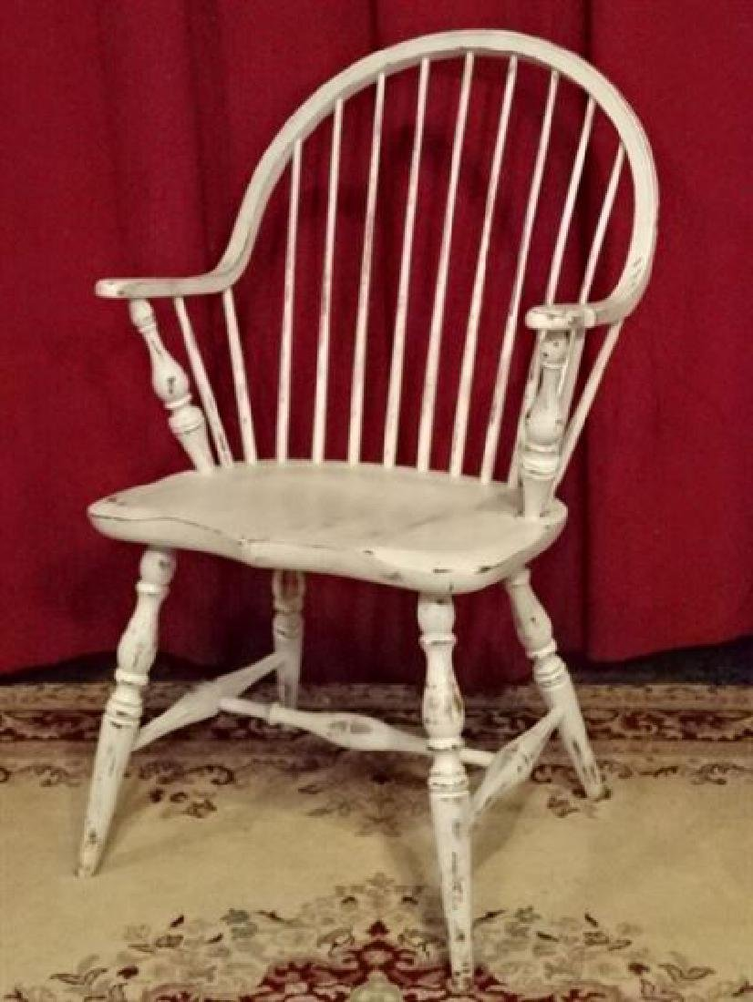 WINDSOR ARM CHAIR, WHITE PAINTED WOOD, LIGHTLY