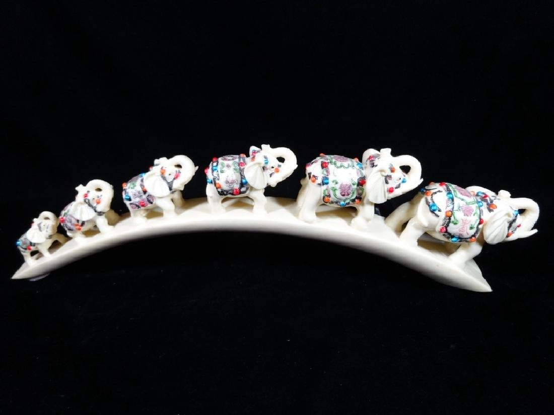 "CARVED RESIN ELEPHANT TUSK, APPROX 17"" X 5"""