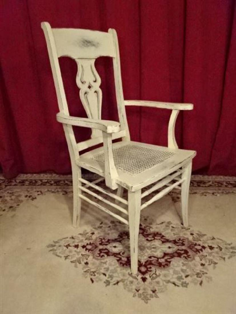 WOOD ARM CHAIR, TROPICAL WHITE FINISH, LIGHTLY