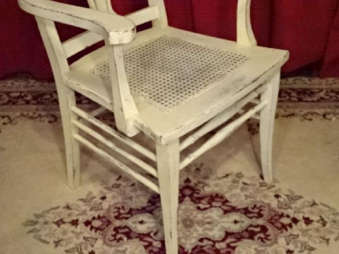 WOOD ARM CHAIR, TROPICAL WHITE FINISH, LIGHTLY - 3