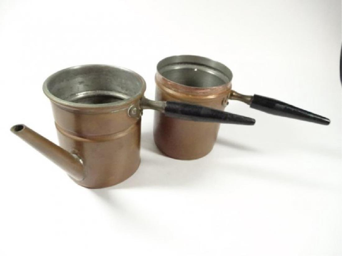 2 PC COPPER GRAVY SEPARATOR & CUP, FIT TOGETHER, WOODEN - 4