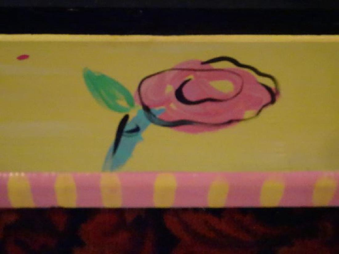 PAINTED WOOD SHELF WITH FLORALS, APPROX 4'W, SKU948.12 - 3