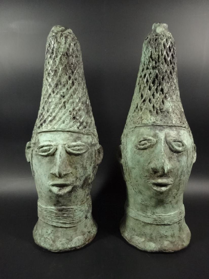 "2 PC AFRICAN PATINATED BRONZE BUSTS, APPROX 11.5""H"