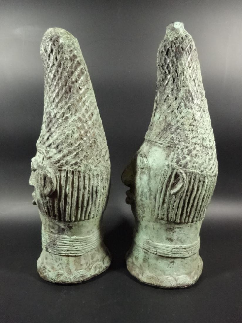 "2 PC AFRICAN PATINATED BRONZE BUSTS, APPROX 11.5""H - 4"