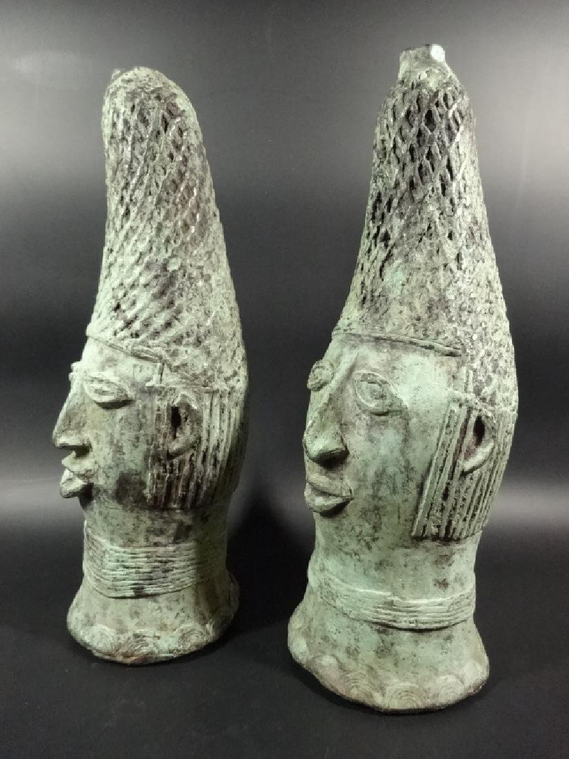 "2 PC AFRICAN PATINATED BRONZE BUSTS, APPROX 11.5""H - 5"