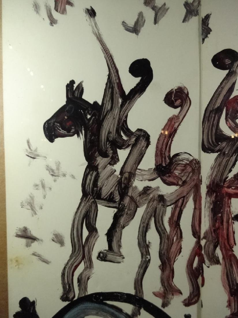 PURVIS YOUNG PAINTING ON PAPER, HORSE & PEOPLE, ON 2 - 3