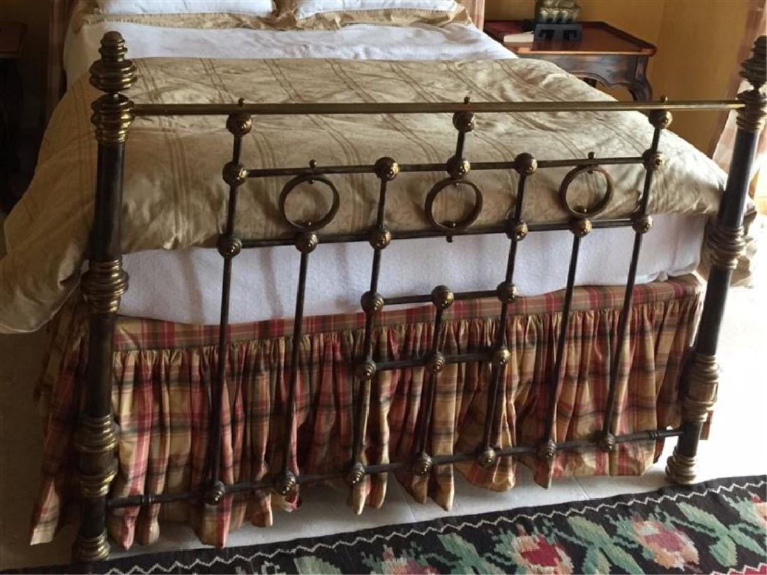 QUEEN SIZE METAL BED WITH UPHOLSTERED HEADBOARD, - 2