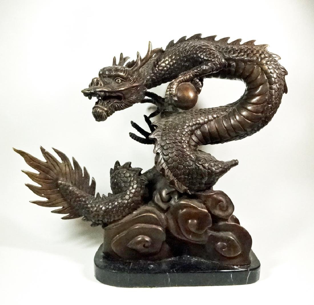 """BRONZE SCULPTURE, CHINESE DRAGON, APPROX 12"""" X 13"""""""