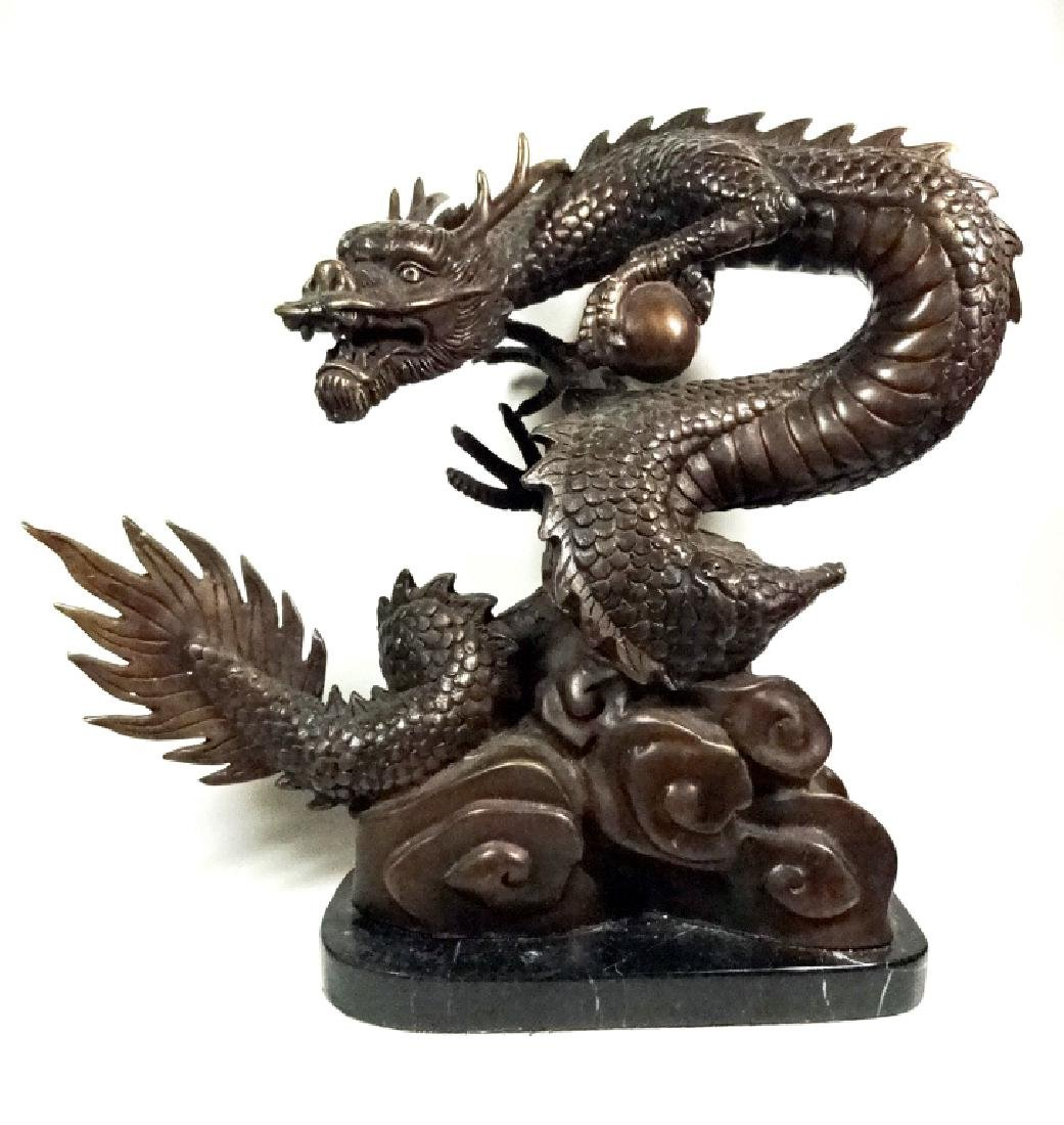"""BRONZE SCULPTURE, CHINESE DRAGON, APPROX 12"""" X 13"""" - 2"""