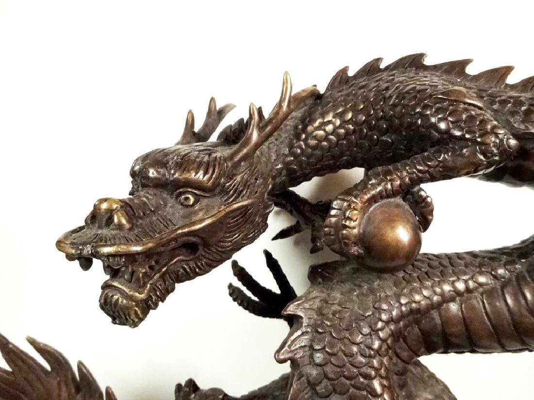 """BRONZE SCULPTURE, CHINESE DRAGON, APPROX 12"""" X 13"""" - 3"""