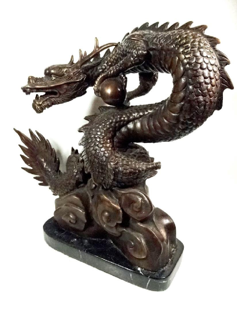 """BRONZE SCULPTURE, CHINESE DRAGON, APPROX 12"""" X 13"""" - 5"""