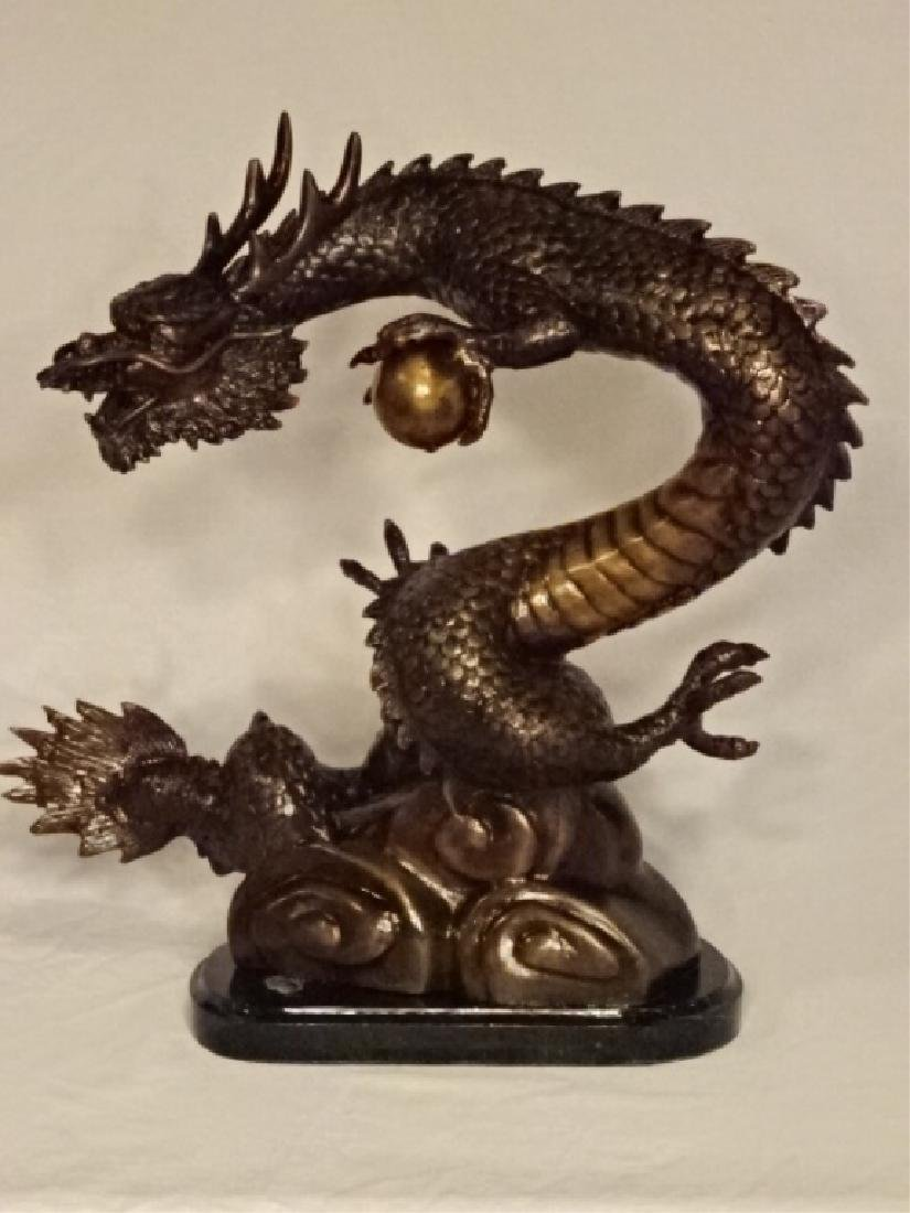 BRONZE SCULPTURE, CHINESE DRAGON CLUTCHING PEARL OF - 2