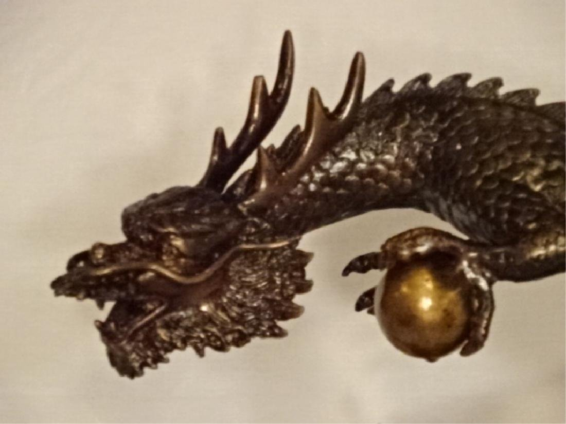 BRONZE SCULPTURE, CHINESE DRAGON CLUTCHING PEARL OF - 3