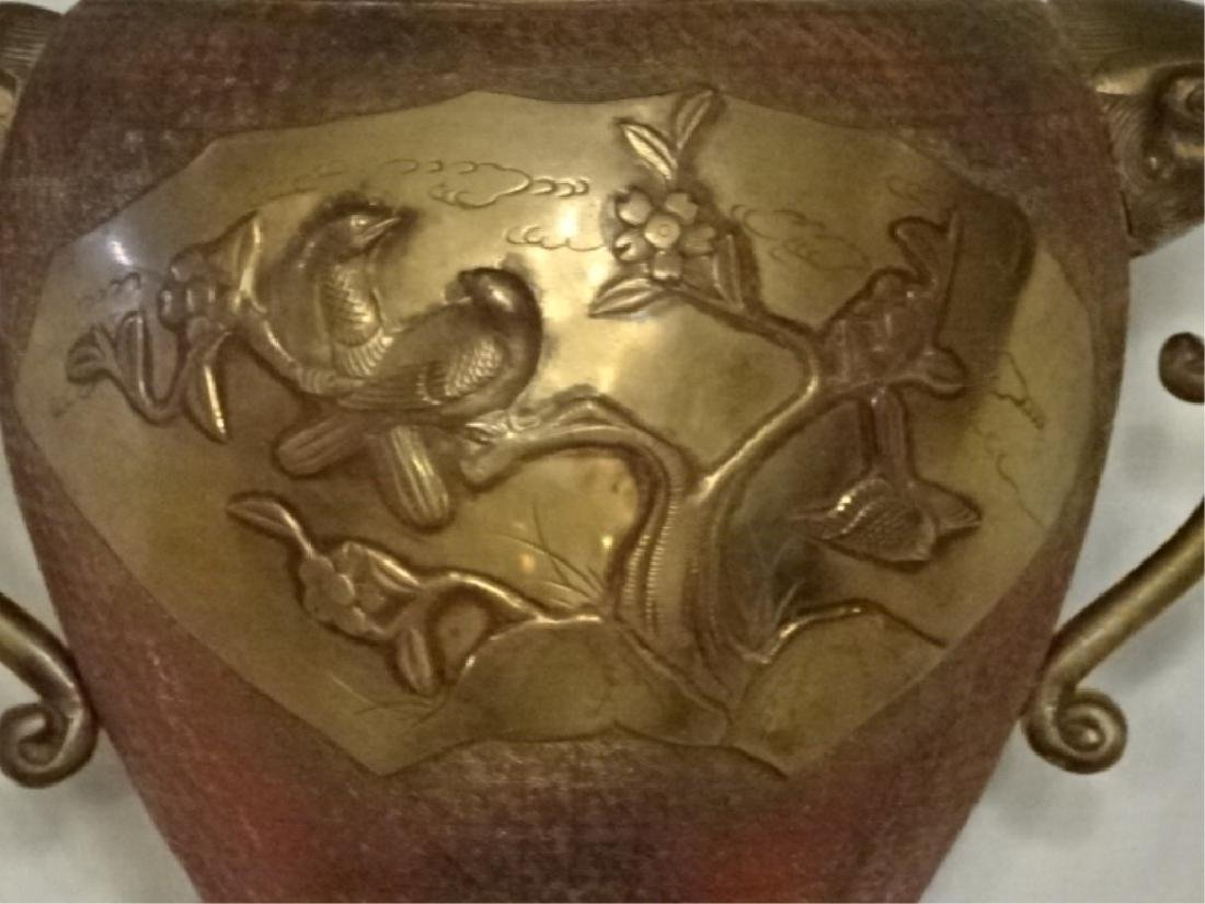 LARGE CHINESE BRASS URN, BAS RELIEF BIRDS, DUAL FIGURAL - 5
