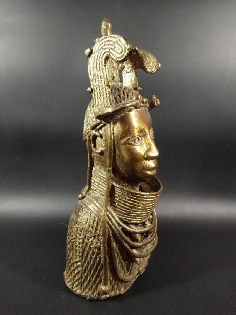 AFRICAN BRONZE SCULPTURE, BUST OF A MAN, BRASS FINISH, - 7