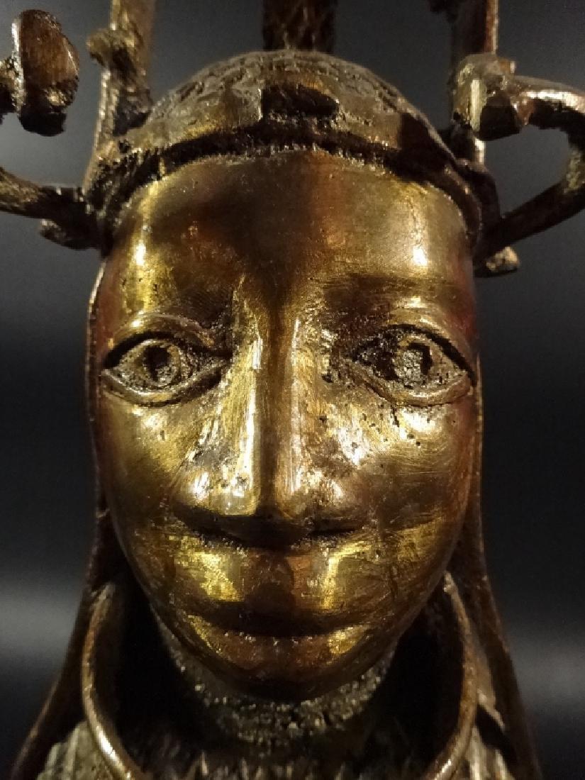 AFRICAN BRONZE SCULPTURE, BUST OF A MAN, BRASS FINISH, - 9