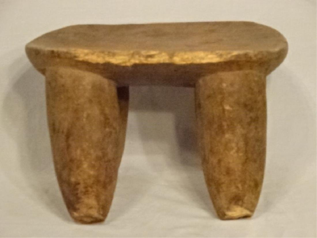 AFRICAN TRIBAL CARVED WOOD LOW STOOL, GOOD CONDITION