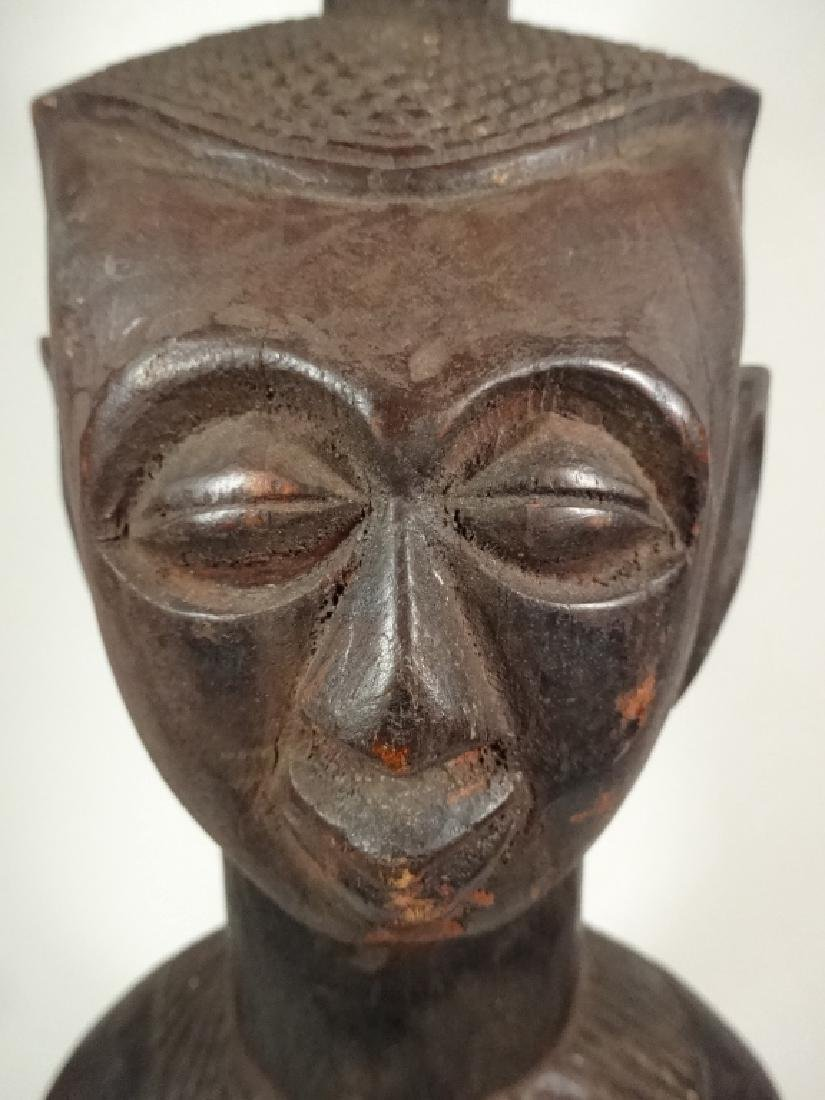 "AFRICAN CARVED WOOD SCULPTURE, MAN, APPROX 15.25""H - 10"