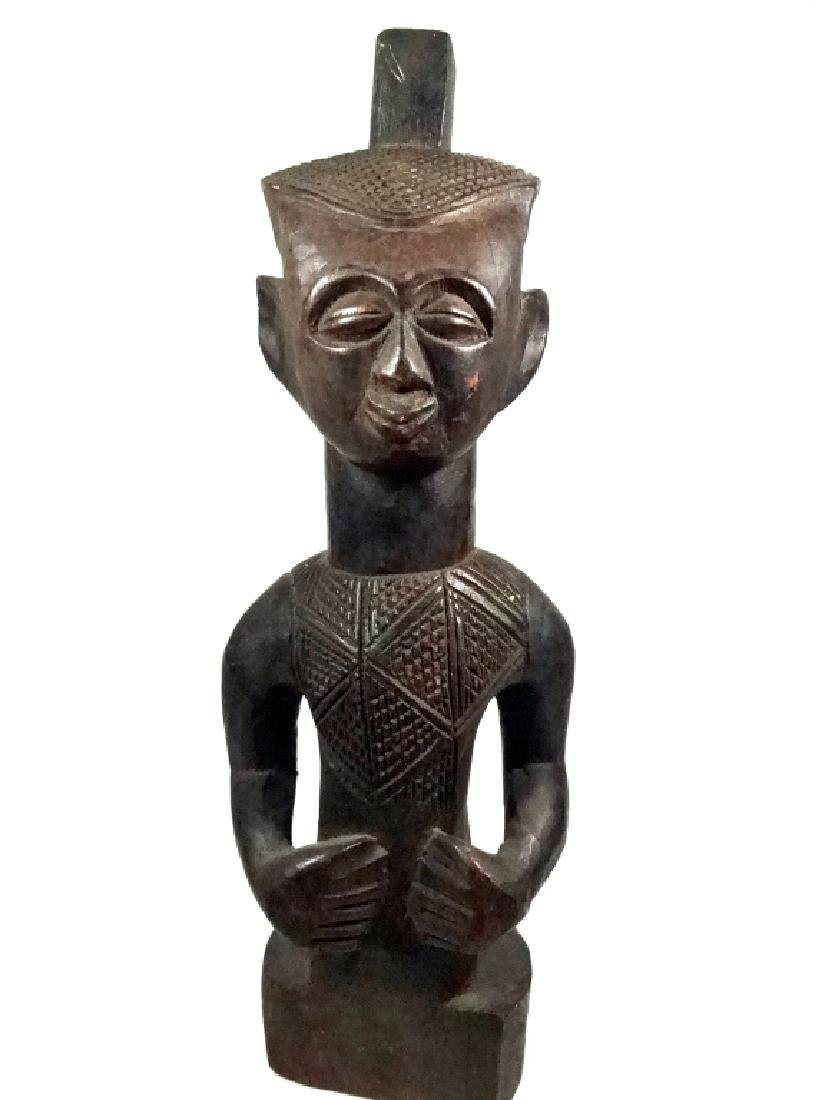 "AFRICAN CARVED WOOD SCULPTURE, MAN, APPROX 15.25""H"