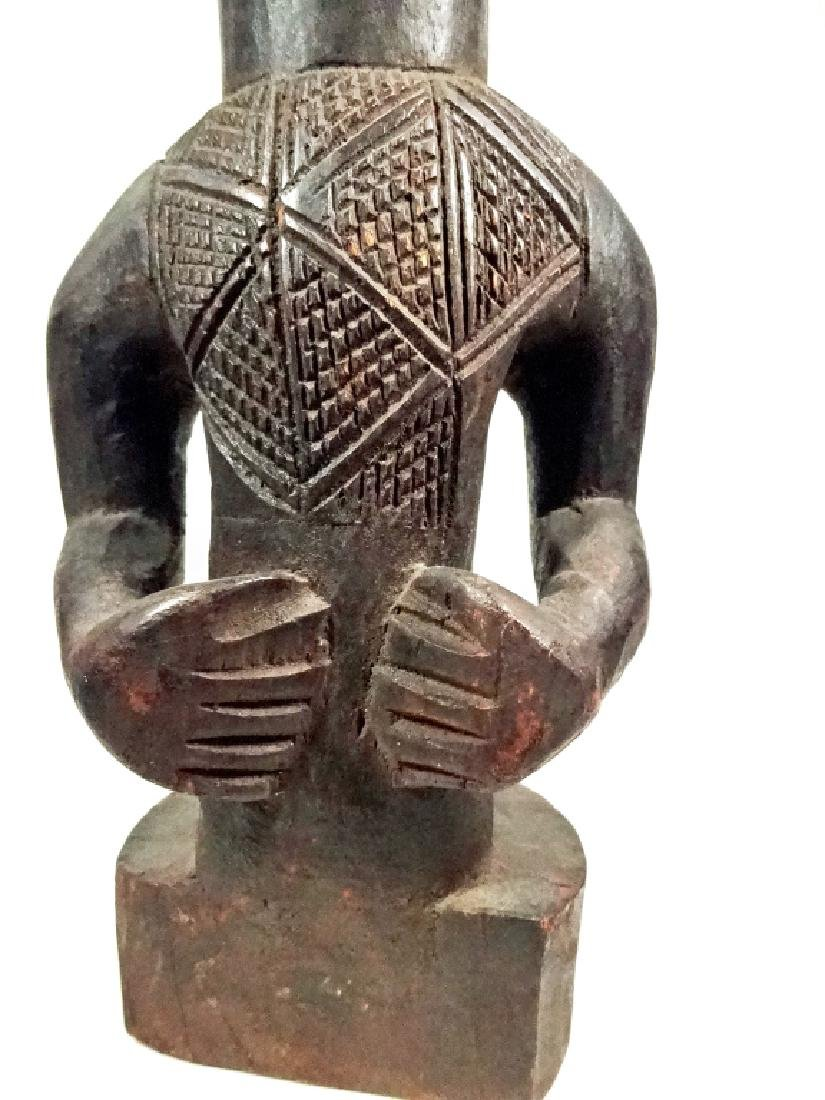"AFRICAN CARVED WOOD SCULPTURE, MAN, APPROX 15.25""H - 3"